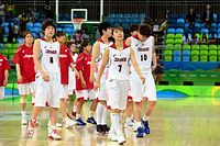 バスケットボール女子1次リーグで、オーストラリアに敗れ肩を落とす栗原(7)ら日本の選手たち=諫山卓弥撮影