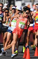男子20キロ競歩で7位に入賞した松永大介=諫山卓弥撮影