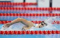 女子800メートル自由形を世界新記録で優勝したレデッキー=西畑志朗撮影