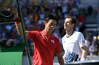 男子シングルス準決勝でマリー(右)に敗れた錦織圭=竹花徹朗撮影
