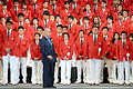 「国歌を歌えないような選手は日本の代表ではない」とあいさつで述べる2020年東京五輪・パラリンピック組織委の森喜朗会長=3日午後4時43分、東京都渋谷区、角野貴之撮影