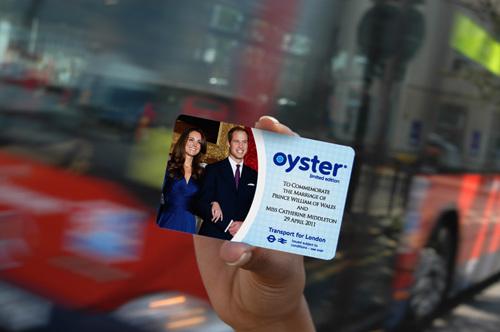 写真:昨年4月に特別エディションとして発売されたウイリアム王子ご成婚記念のオイスターカード=ロンドン交通局提供(©Transport for London)