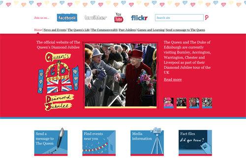 写真:エリザベス女王の即位60年「ダイアモンド・ジュビリー」の公式サイト。中央の写真の左側にあるイラストが、公募で選ばれた少女の作品。ページの上には王室が開いているfacebookやtwitter、YouTubeなどへのリンクも