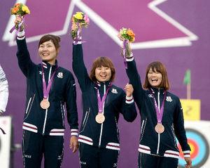 写真:アーチェリー女子団体で銅メダルを獲得した(左から)早川漣、蟹江美貴、川中香緒里=中田徹撮影