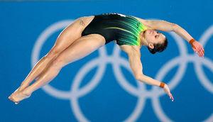 写真:女子高飛び込みのメリッサ・ウー=樫山晃生撮影