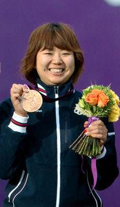 写真:女子団体で銅メダルを獲得した蟹江美貴=中田徹撮影
