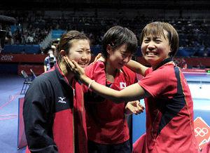 写真:卓球女子団体準決勝に勝ち喜ぶ(左から)福原愛、石川佳純、平野早矢香=森井英二郎撮影