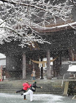 降りしきる雪のなか、記念写真のポーズをとる若い女性たち=熊本県阿蘇市一の宮町宮地の阿蘇神社