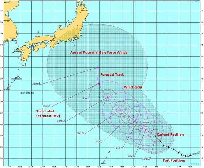米軍合同台風警報センターのホームページから