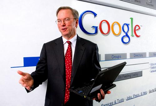 写真:2007年4月に来日したグーグルのエリック・シュミットCEO