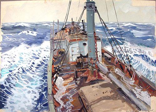 写真:カナダに渡る船で描いた「フードロワイヤン号」 (C)Atelier Frédéric Back Inc.