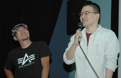 写真:トークをする沖浦啓之さん(右)と西尾鉄也さん=杉並アニメーションミュージアムで