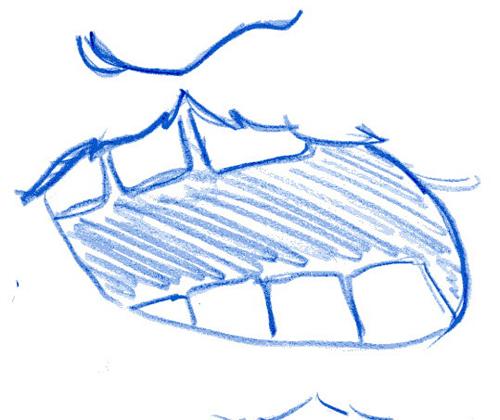 写真:私の記憶で描いた沖田艦長の「あの口」。つたない粗末な絵ですみません