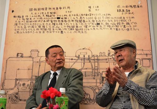 写真:トークをする大塚康生さん(右)と南正時さん。後ろは大塚さんのスケッチを引き伸ばしたパネル=東京・荻窪のギャラリィ・ゴーシュ