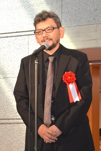 写真:映画「ヱヴァンゲリヲン新劇場版:Q」総監督の庵野秀明さん。今夏の「館長 庵野秀明 特撮博物館 ミニチュアで見る昭和平成の技」開会式で撮影しました