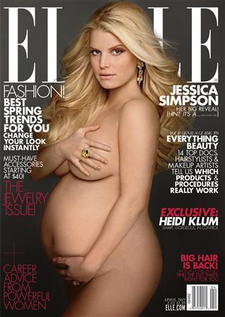 :3月7日、米歌手・女優で現在妊娠中のジェシカ・シンプソンが、今月20日発売の女性誌「エル」4月号の表紙をヌードで飾っている。提供写真(2012年 ロイター)