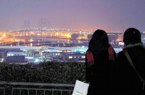 写真:普段はライトアップされる横浜ベイブリッジも節電に協力。「港の見える丘公園」からの景色も少し地味に=15日夕、横浜市中区