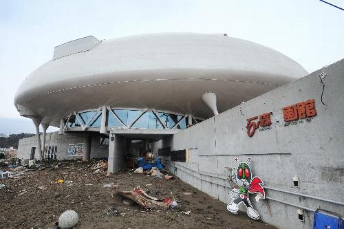 写真:壊滅的な被害を受けた「石ノ森萬画館」=21日午後、宮城県石巻市、伊藤恵里奈撮影
