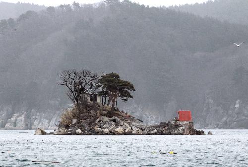 写真:ひょうたん島のモデルとされる蓬莱島。右手にあった灯台が根元から折れてしまった=20日、岩手県大槌町、樫山晃生撮影