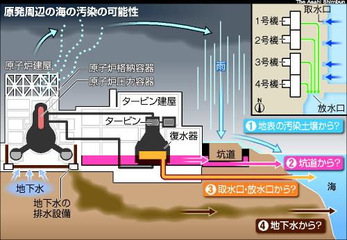 図:原発周辺の海の汚染の可能性