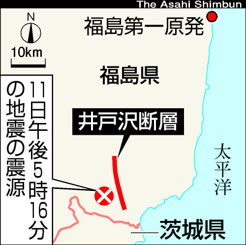 地図:地表に断層が発見された場所