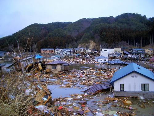 写真:大きな被害が出た岩手県釜石市鵜住居地区=3月11日午後、浦山奈穂江さん提供