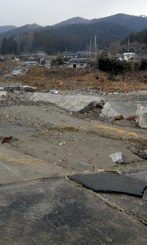 写真:写真奥の高台に立つ家並み、白浜集落は1933年の昭和三陸大津波を機に高台に移転。今回の津波では無事だった=岩手県大船渡市