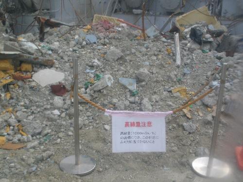 写真:毎時1千ミリシーベルトと高い放射線量のがれきが見つかった福島第一原発3号機原子炉建屋付近=21日午前7時ごろ、東京電力提供