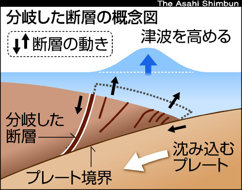 図:分岐した断層の概念図