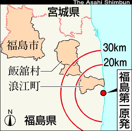 図:福島第一原発と福島市
