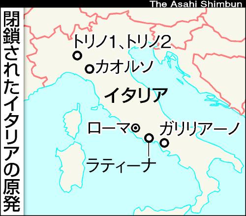 図:閉鎖されたイタリアの原発