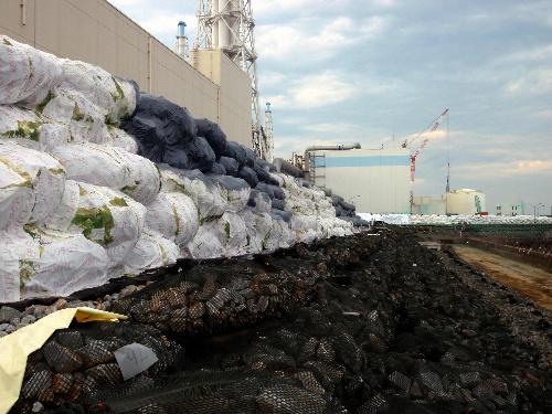 写真:福島第一原発3、4号機などの前に造られた仮設防潮堤=6月30日撮影、東京電力提供