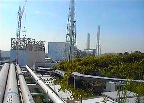 写真:横付けされたクレーンを使い、建屋カバーの工事が始まった福島第一原発1号機(左)=東京電力のライブカメラより