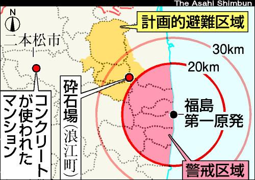 図:砕石場とマンションの位置