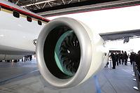 公開された「MRJ」の飛行試験機初号機のエンジン=2014年10月18日午後、愛知県豊山町、細川卓撮影