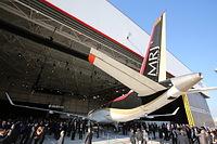 MRJ飛行試験機初号機の尾翼部分=2014年10月18日午後、愛知県豊山町、細川卓撮影