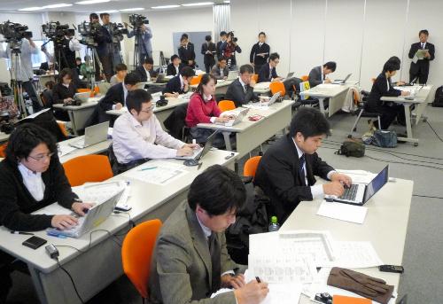 写真:中日本高速の本社で行われた会見には多数の記者が詰めかけた=13日、名古屋市中区、鈴木彩子撮影