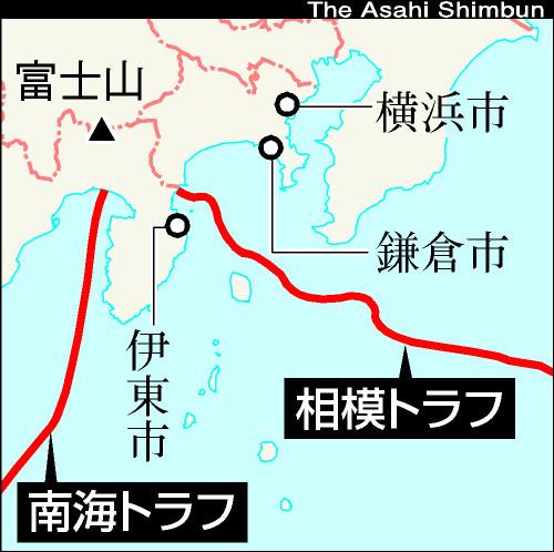 図:相模トラフと南海トラフ