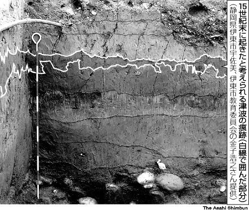 写真:15世紀に起きたと考えられる津波の痕跡
