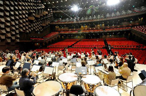 写真:大阪フィルハーモニー交響楽団の練習が行われ、音響などの確認がされた中之島フェスティバルホール=20日午後、大阪市北区、森井英二郎撮影