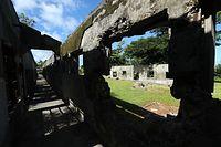 ガラパンの中心部に残されている日本刑務所跡=8月28日、北マリアナ諸島・サイパン島、橋本弦撮影