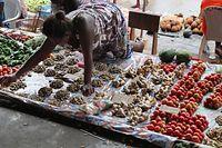 野菜を売る女性。トマトやショウガ、芋やピーマンを並べていた=9月7日、ソロモン諸島・ガダルカナル島、橋本弦撮影
