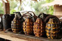 密林などから見つかった手投げ弾=9月2日、ソロモン諸島・ガダルカナル島、橋本弦撮影