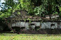 朽ちた水陸両用トラクター=9月7日、ソロモン諸島・ガダルカナル島、橋本弦撮影