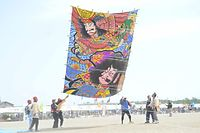 「世界の凧の祭典2015」。12畳もの大きさがあるたこ=2015年5月10日、内灘町の内灘海水浴場、比名祥子撮影