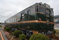 JR西の観光列車「べるもんた」の外観=2015年9月8日、石川県白山市新田町、八田伸拓撮影