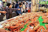 近江町市場の店頭に並んだズワイガニ=2015年11月7日、金沢市、定塚遼撮影