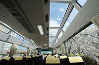 桜の咲く松川沿いを走る展望バスの車内。天井のガラス窓から青空が見える=2015年4月9日、富山市桜橋通り、寺脇毅撮影