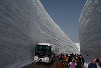 春の立山、アルペンルートが全通。「雪の大谷」を楽しむ観光客ら=2015年4月16日、富山県立山町、寺脇毅撮影