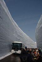 「雪の大谷」を楽しむ観光客ら=2015年4月16日、富山県立山町、寺脇毅撮影